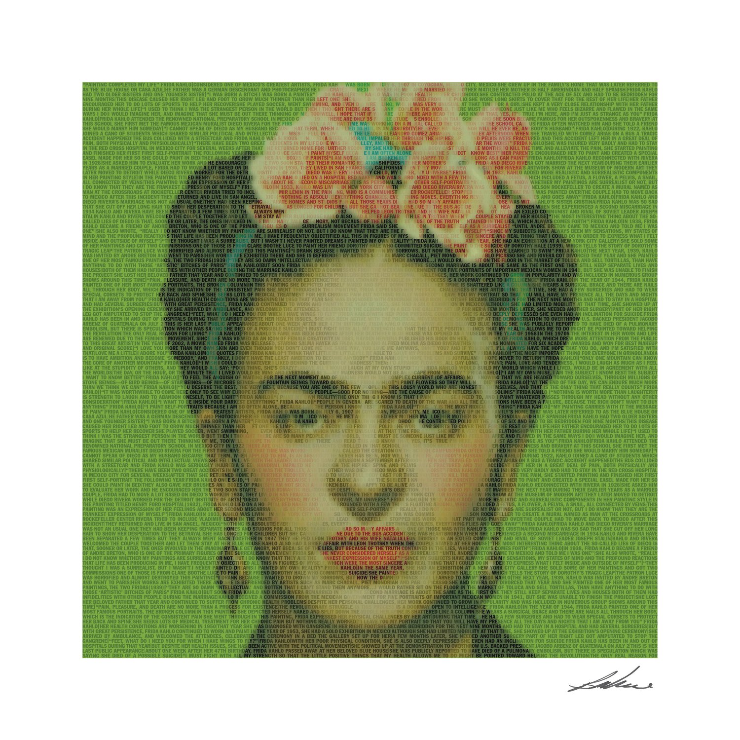A portrait of Frida Kahlo is part of the works by Bryce Culverhouse.