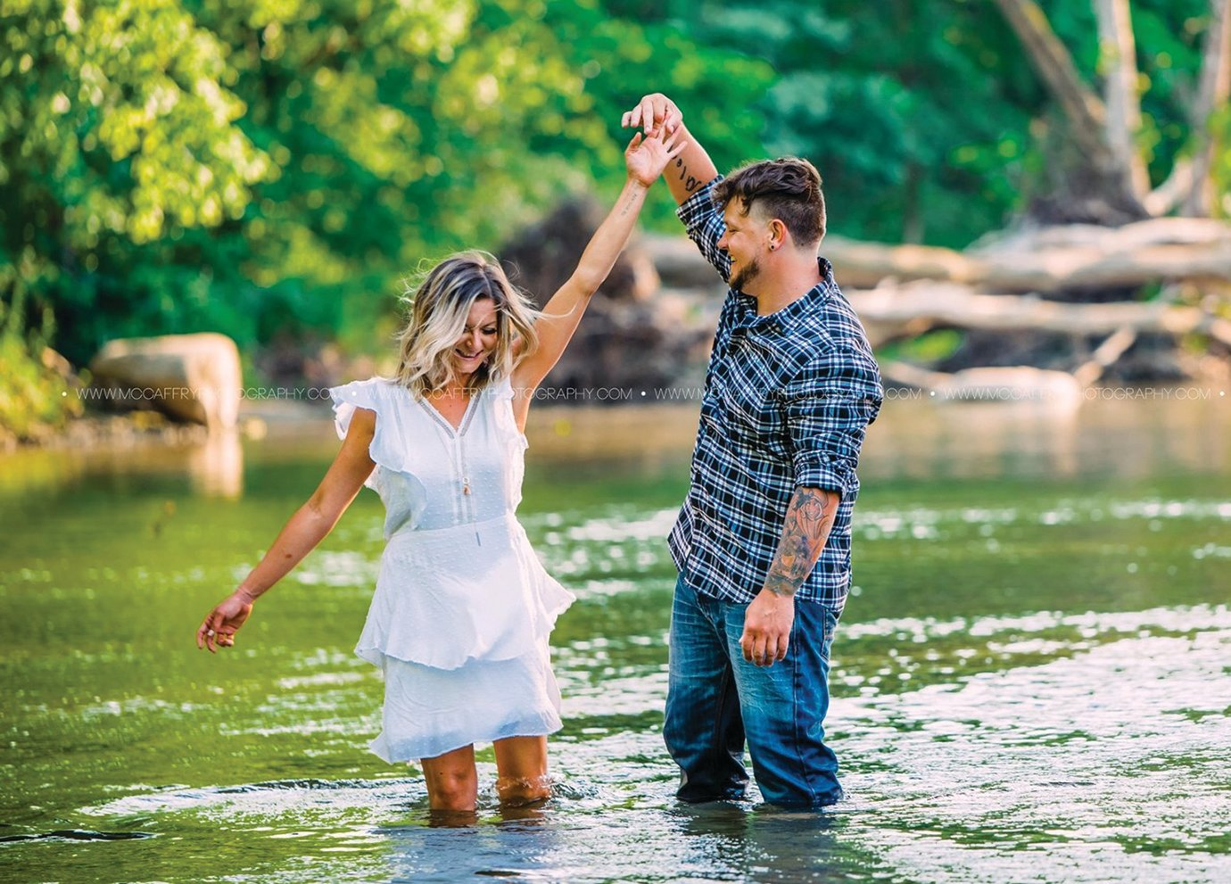 Karmon Waite and Daniel Allen, the subjects of a blind date photoshoot gone viral, test the waters and each other under the Darlington Covered Bridge in June.