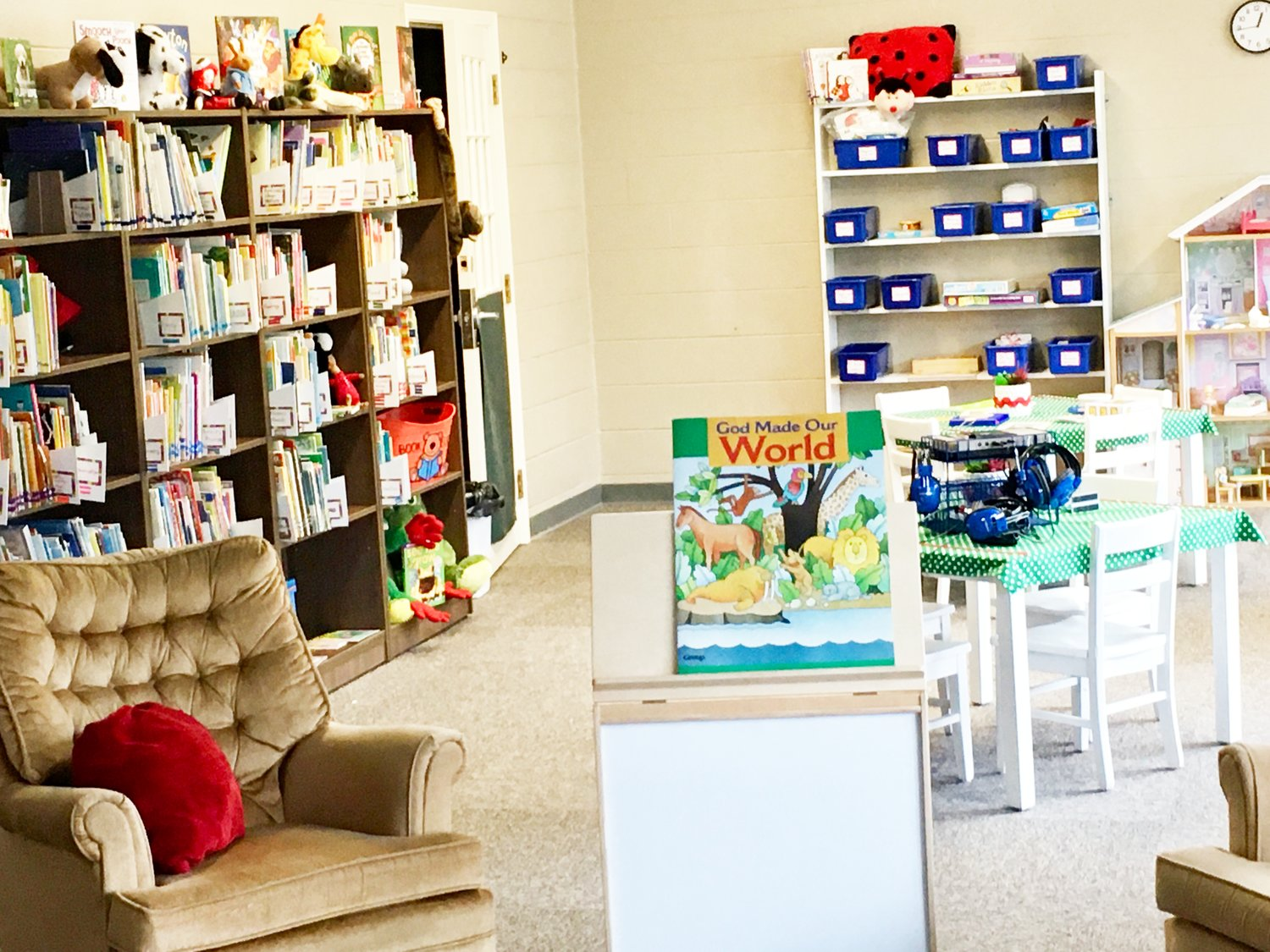 The library at Rainbows and Rhymes Preschool and Child Care was expanded as part of renovations to prepare the facility for all-day programming. Sessions began this week.