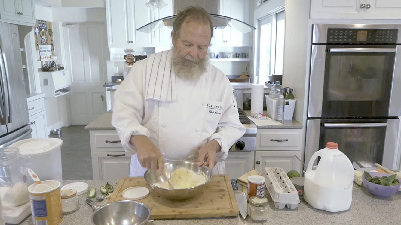 Wabash College Professor Rick Warner prepares a jalapeno corn bread during the virtual Dining with the Chefs event on Saturday.