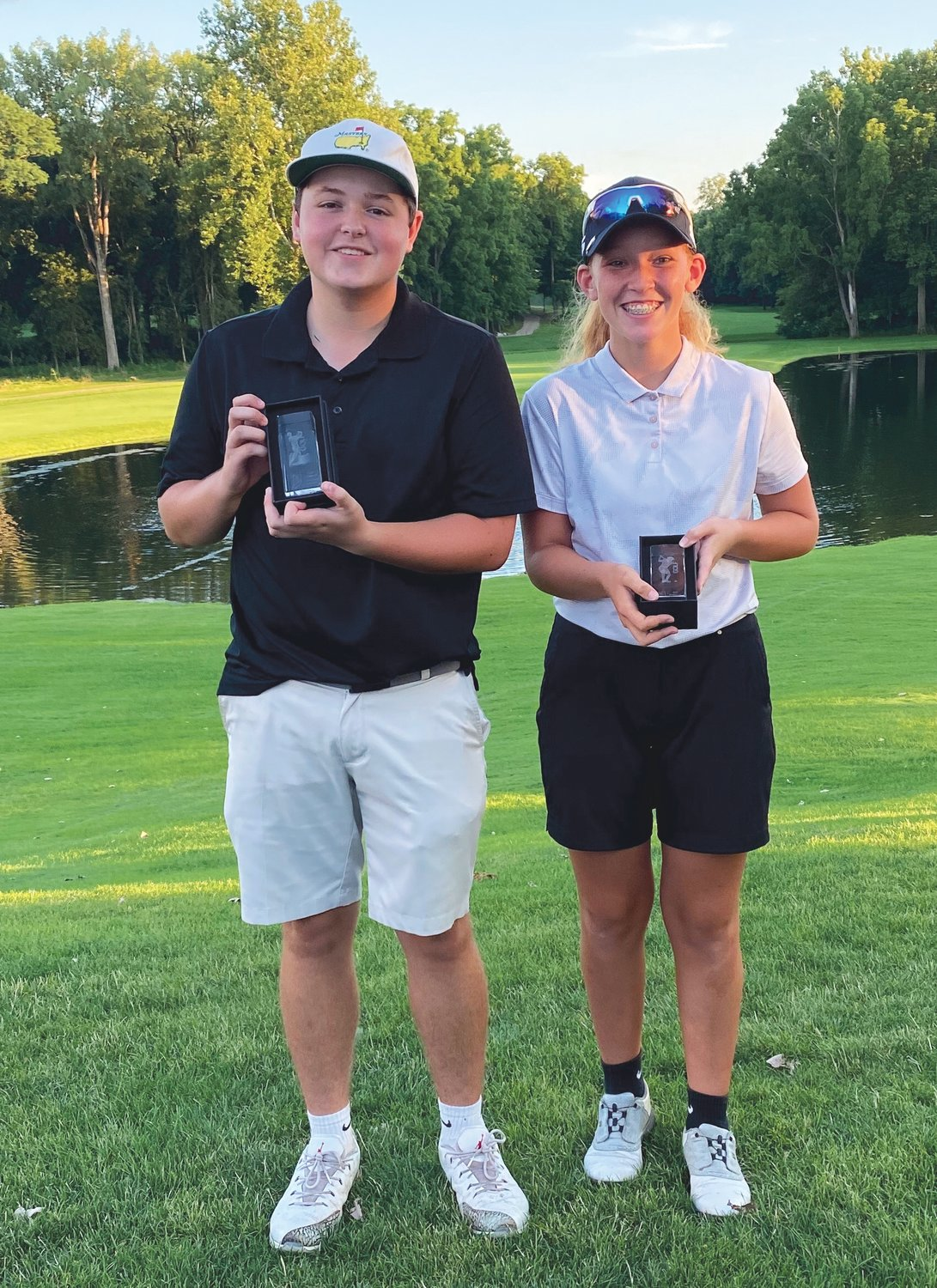 Nolan Allen, left and Addison Meadows, right, won their respective Central Indiana Junior Golf Association Invitational tournaments at Coyote Crossing Golf Course in Lafayette. .Allen, a 15-year-old, won the 15-18 year old tournament, while Meadows, age 13, won the 13-14 age group. Both Allen and Meadows attend Southmont Schools.