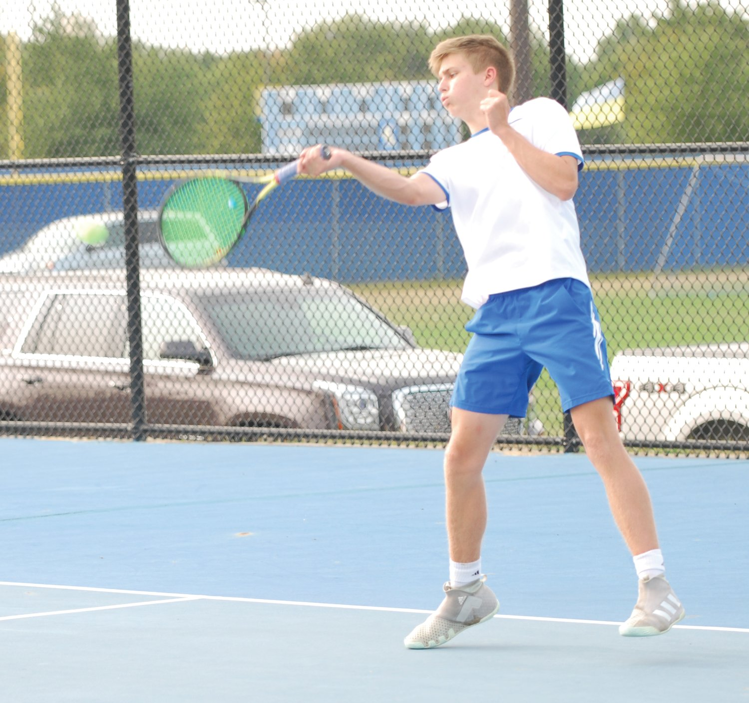 Crawfordsville's Thatcher Gambrel defeated Hunter Kashon 6-0, 6-0 at No. 2 singles on Monday.