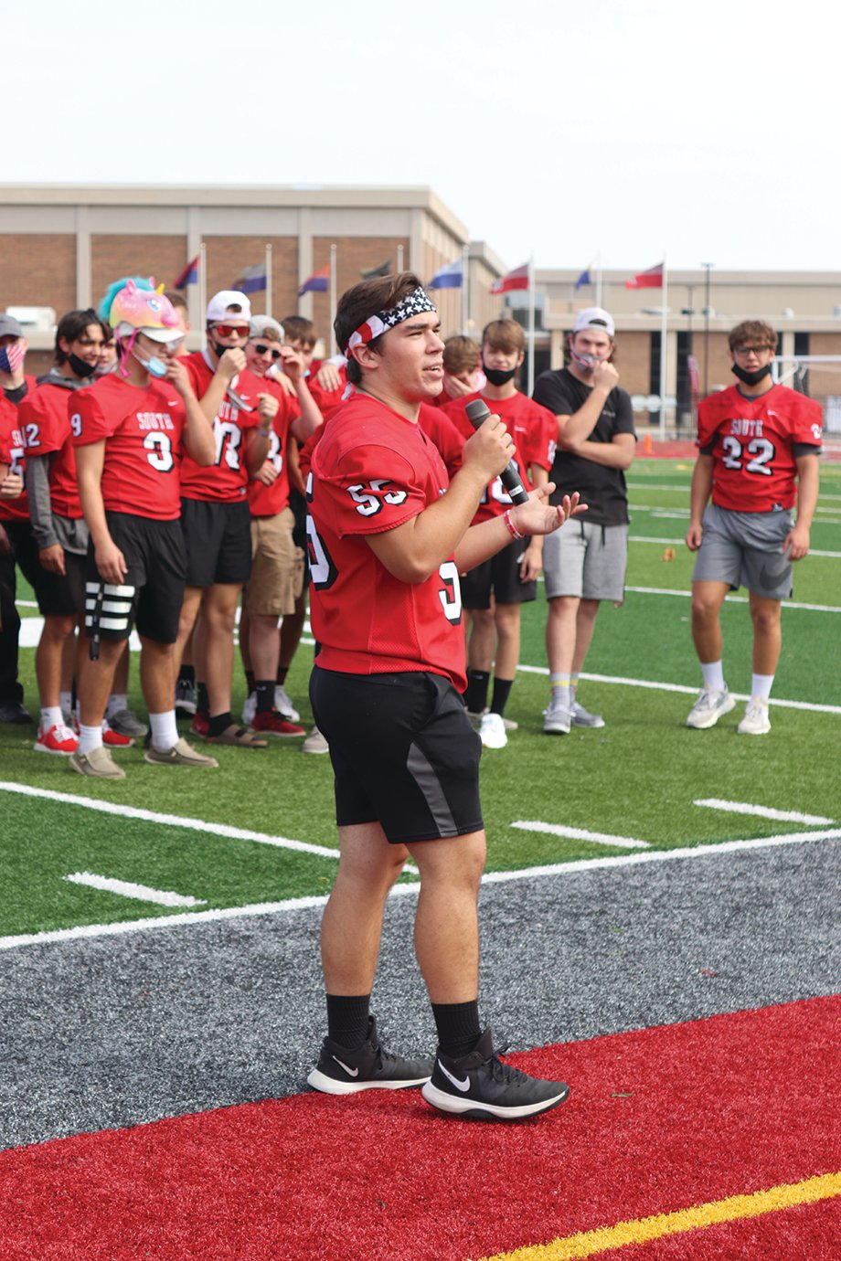 Southmont senior linebacker Riley Woodall provides a few words of inspiration ahead of Friday's Homecoming matchup with Lebanon.