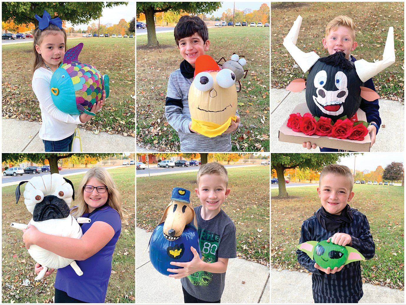 Winners of New Market Elementary's fall pumpkin painting contest proudly display their creative works of art Wednesday in front of the school. More than 150 pumpkins were submitted for the contest.  Champions were voted upon by their peers in each grade level. Winners, clockwise from top left, include: Kindergartener Kynlee Cleary with her fish; first grader McCoy Gomez with Fly Guy and Buzz; second grader Harrison Simmons with Ferdinand; third grader Hudson Beach with Yoda; fourth grader Colton Kendricks with Dog Man; and fifth grader Molly Slavens with Pig the Pug.