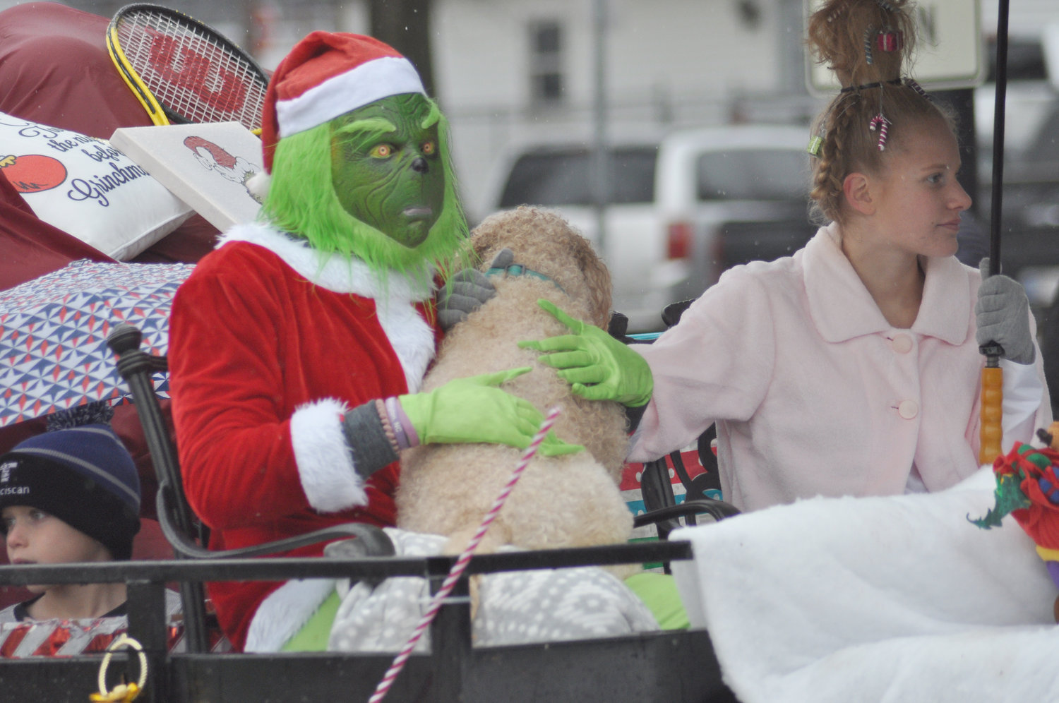 The Grinch rides in the 2019 Christmas Parade in downtown Crawfordsville. This year's parade has been canceled due to the COVID-19 pandemic.