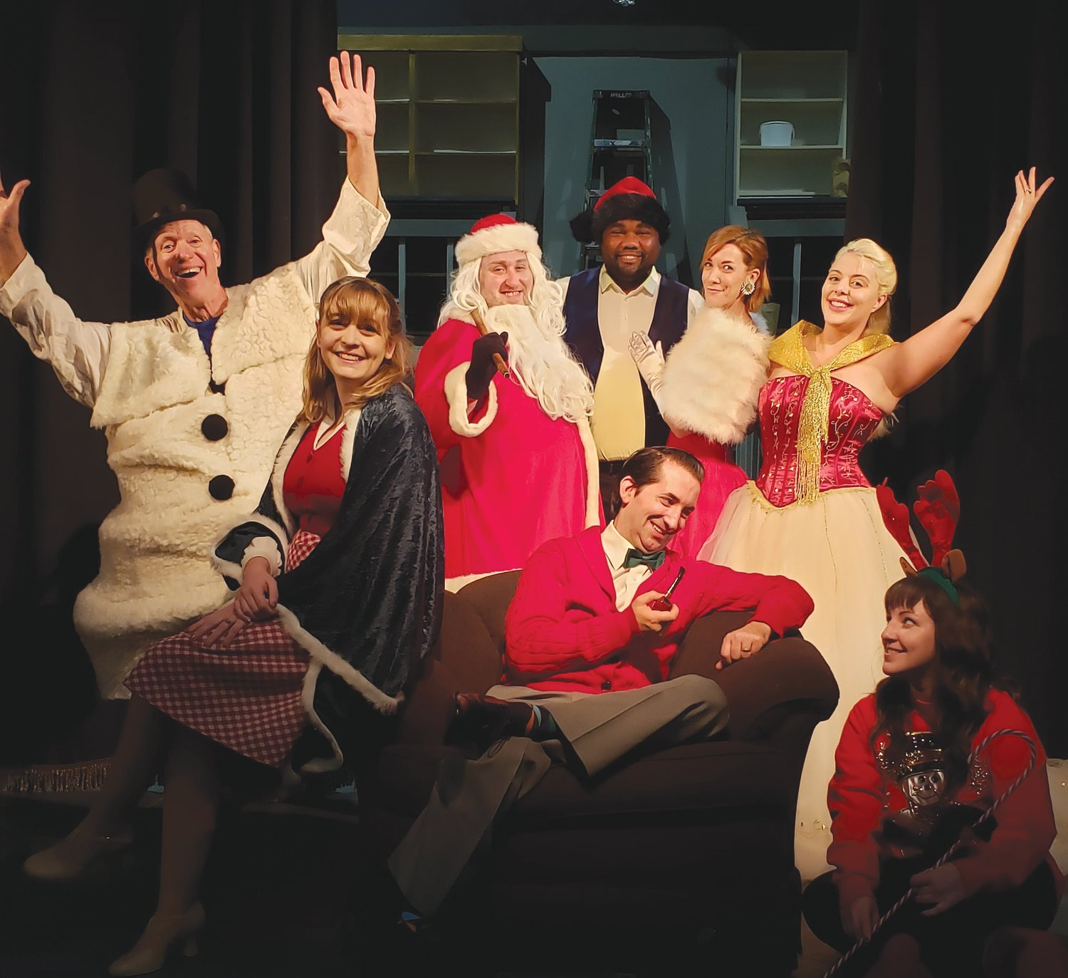 The cast gets ready for the merriment of a Christmas special, as Myers Dinner Theatre presents Hollywood Hearth and Home, a Christmas musical revue. Pictured, from left, standing are Don Hart, T.J. Bird, Kevin Ray Johnson, Sarah Hayes and Elsa Scott Besler; and seated are Rachel Henry Johnson, Thomas J. Besler and Lauren Morgan. The show opens Friday and continues through Dec. 20.
