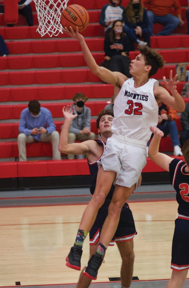 Southmont's Avery Saunders elevates for an easy layup in a game earlier this season. Saunders led the Mounties with 18 points in a loss to Covington on Friday night.