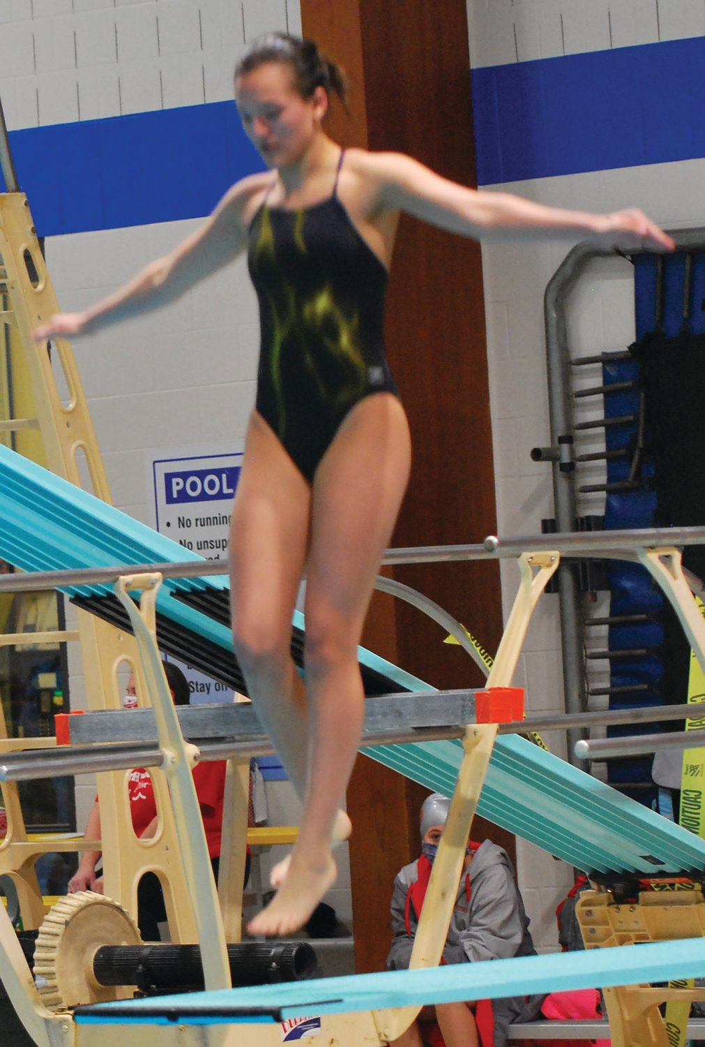 Crawfordsville's Trinity Deck broke the Montgomery County meet diving record last week.