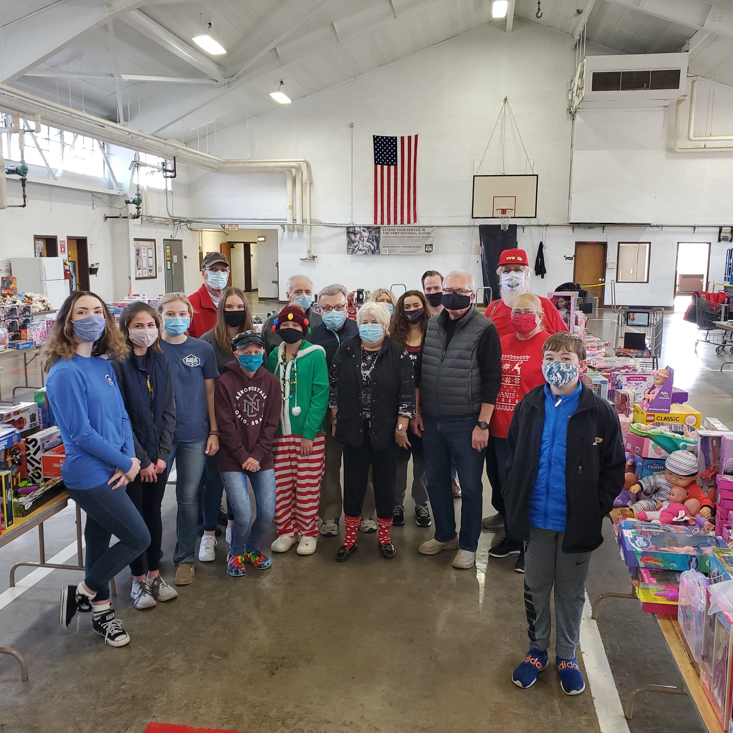 Members of the Crawfordsville Kiwanis and the Crawfordsville Middle School A-Team paired together to help with the annual Operation: 