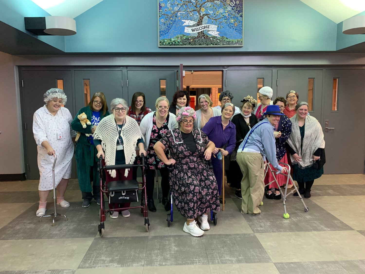 New Market Elementary teachers dressed as 100-year-olds to celebrate the 100th day of in-person school Thursday.