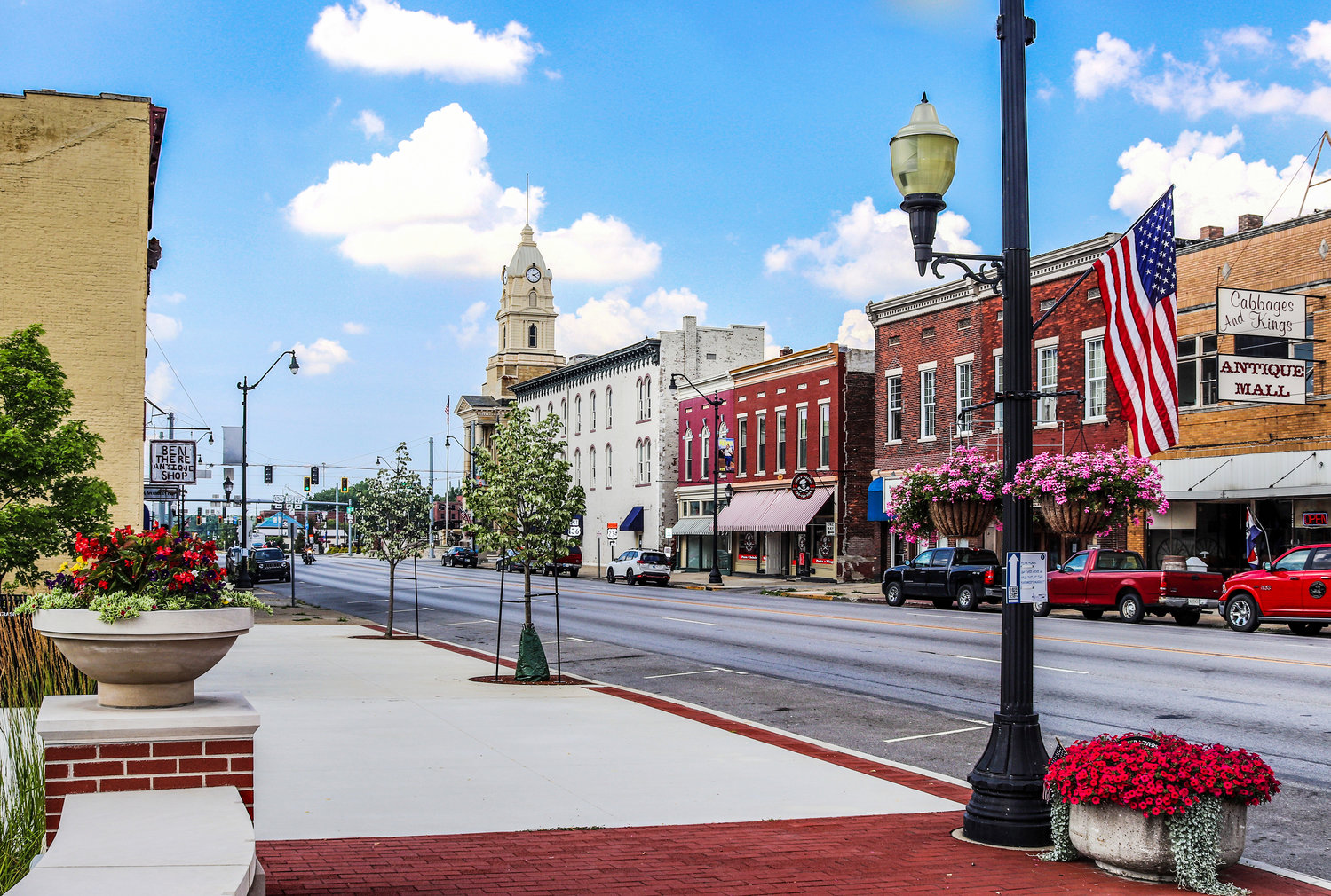 Downtown Crawfordsville as seen in the summer of 2020 looking north along South Washington Street.