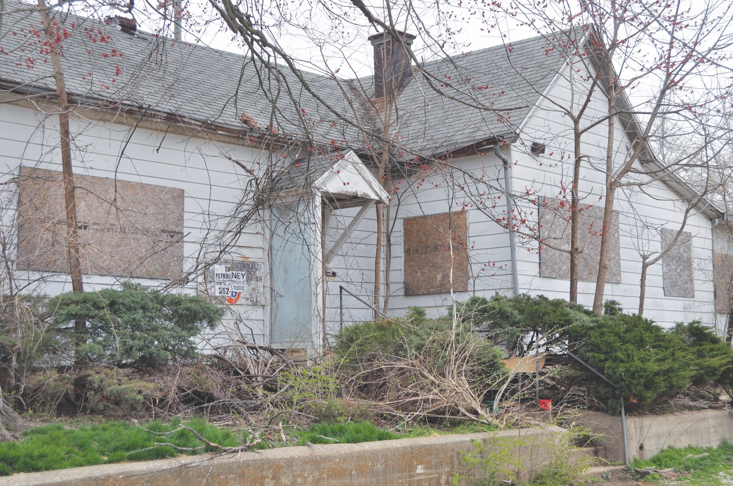The former Toney Petroleum building is shown here Thursday. The Crawfordsville Street Depatment will re-board parts of the building following complaints about stray cats on the site.