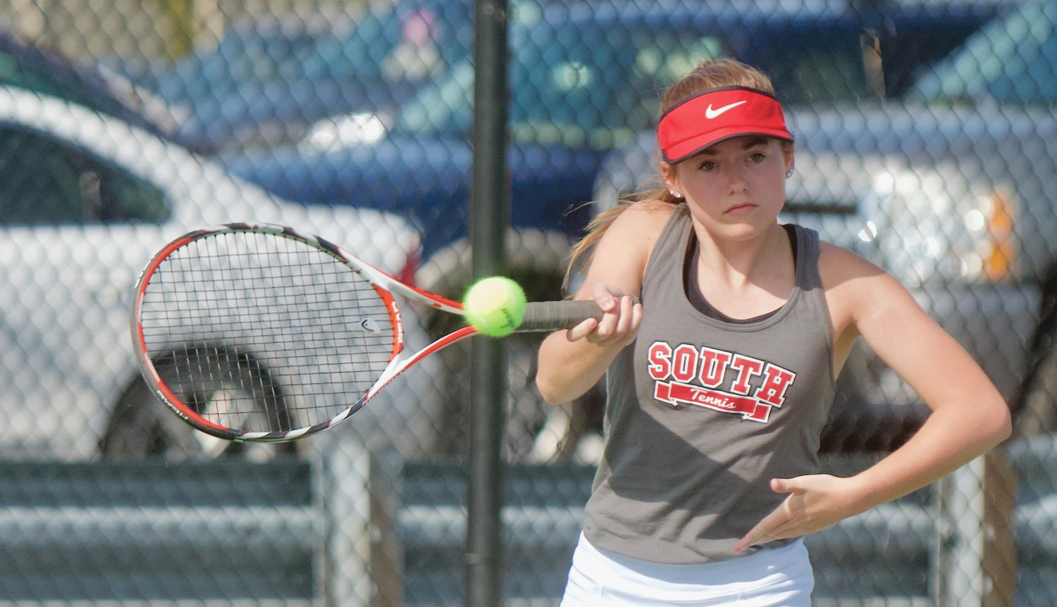 Southmont's Mallory Murphy returns a ball against North Montgomery in a match back in 2019.
