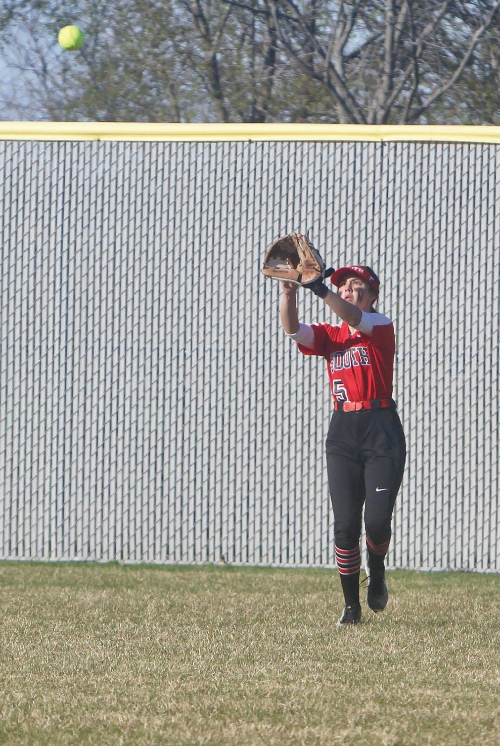 Southmont centerfielder Taylor Grino makes a catch.