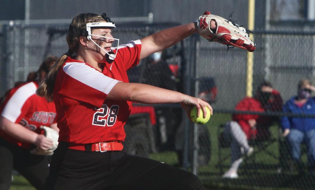 Southmont pitcher Macie Shirk delivers a pitch on Tuesday night in a 9-0 Sagamore Conference loss to Tri-West.