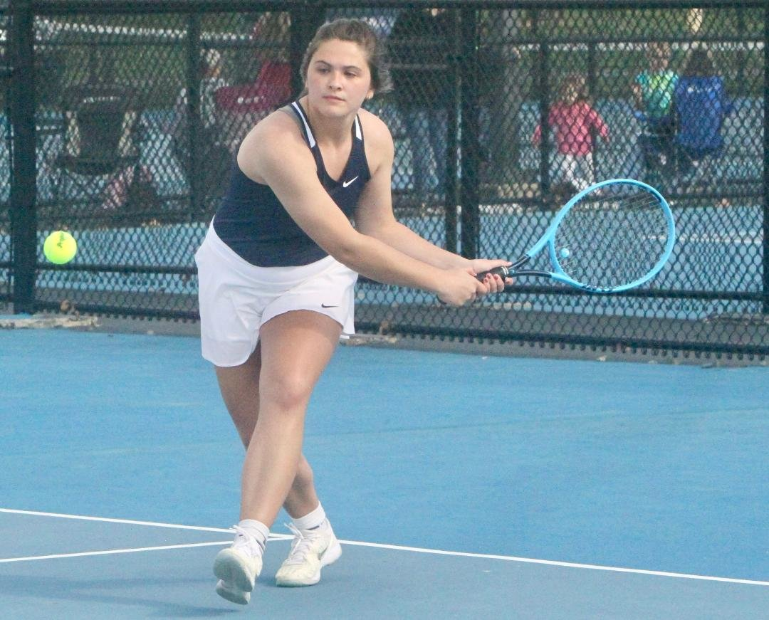 North Montgomery's Kaitlyn Greenlee competed for the Chargers at No. 1 singles on Thursday night.