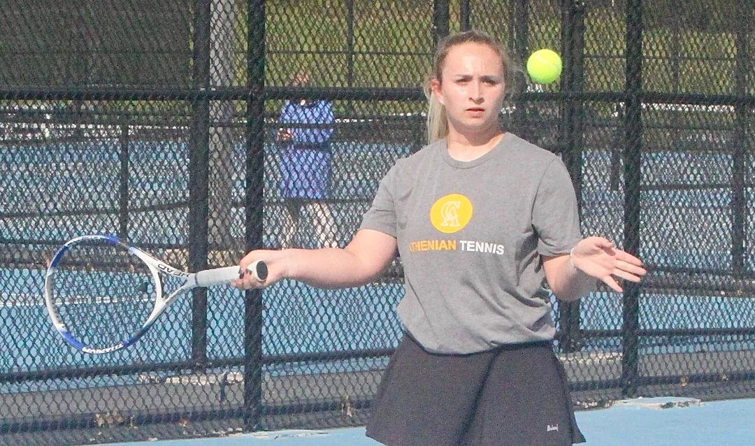 Crawfordsville freshman Samantha Rohr helped the Athenians defeat North Montgomery with a win at No. 3 singles.
