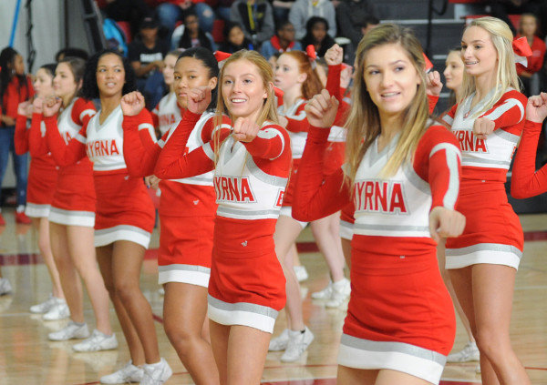 SmyrnaPepRally5-MCleryThe Smyrna football cheerleaders during a pep rally at the high school on Friday. Delaware State News/Marc Clery