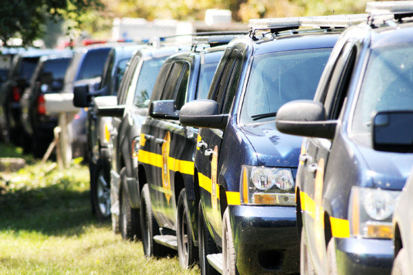 Delaware State Police SUVs parked on Johnson Road in Lincoln during a standoff on Wednesday.