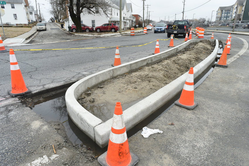 Work continues on Fitzwater Street in Salisbury. In the coming weeks, commuters can expect to see the installation of new landscaping, sidewalks and a protected bike lane.