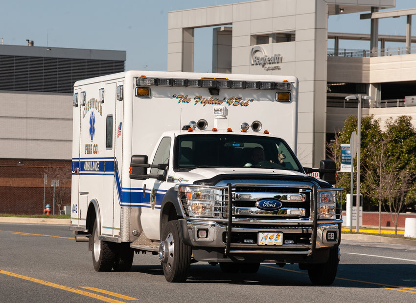 A Cheswold Fire Company ambulance arrives at BayHealth in Dover.