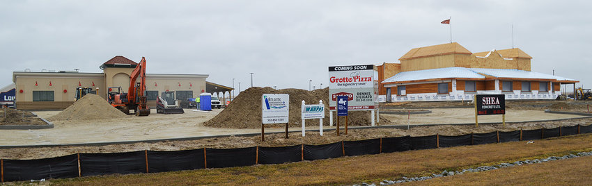 Construction is ongoing for Millsboro's Texas Roadhouse location, which should be opening in May. Nearby Grotto Pizza is anticipated to open next month.