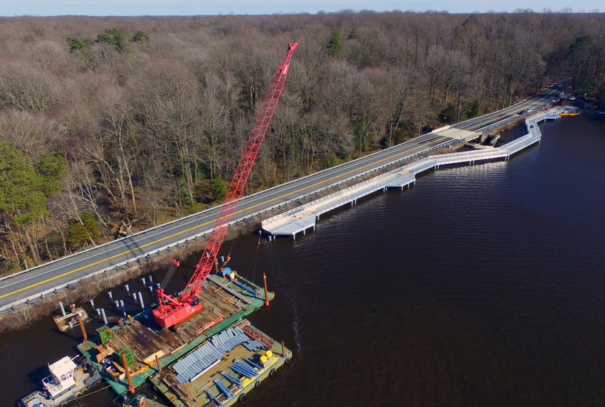 Construction of the Killens Pond State Park walking bridge is almost complete on Killens Pond Road, near Felton.