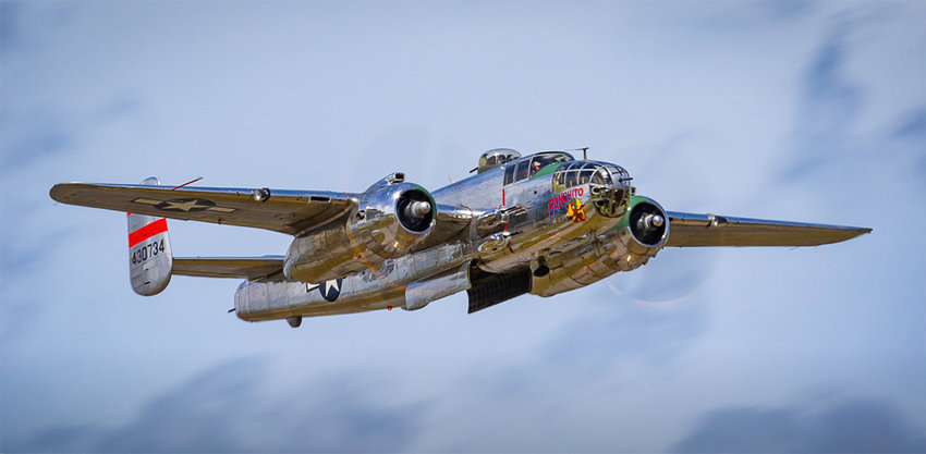 """""""Panchito,"""" a North American B-25 medium bomber, is well-known across the Delmarva Peninsula and will be offered for a flight adventure during the Delaware Aviation Museum Foundation's open house May 8."""