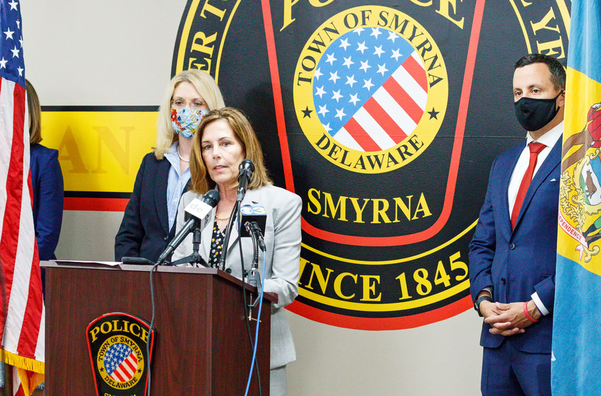 Attorney General Kathy Jennings, center, announces additional charges against Kristie Haas on Tuesday, with Deputy Attorney General Kathleen Dickerson and Chief Deputy Attorney General Alexander Mackler. Ms. Haas was additionally indicted on first-degree murder by abuse or neglect in connection with the death of her 3-year-old daughter, Emma Grace Cole, whose body was found in Smyrna in September 2019.
