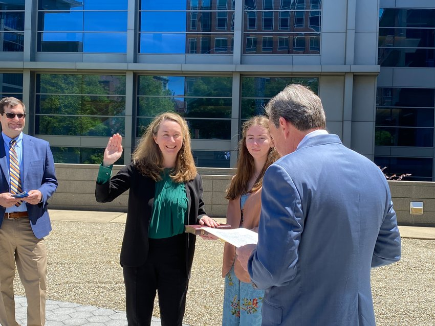 Smyrna High School graduate Kathaleen S. McCormick was sworn in Thursday as the first female chancellor of the Delaware Court of Chancery. Retired Chancellor Andre G. Bouchard administered the oath of office as Chancellor McCormick's daughter, Fiona Fawcett, held the Bible.