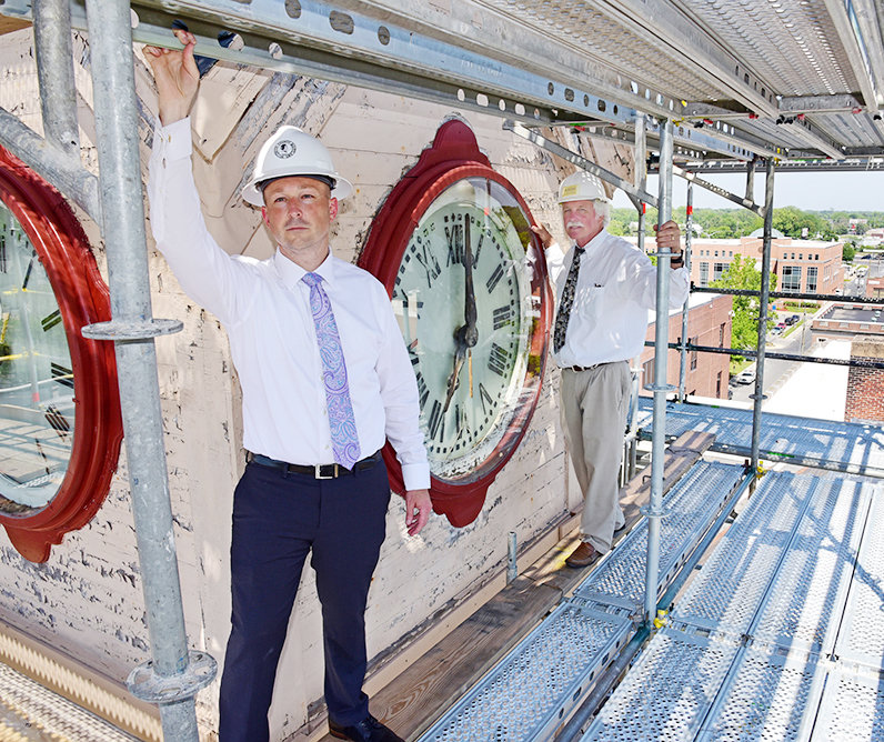 Weston Young, left, oversaw the 2017 renovation of the clock tower on the Wicomico County Courthouse. He was officially named Friday at the next Chief Administrative Officer for neighboring Worcester County.
