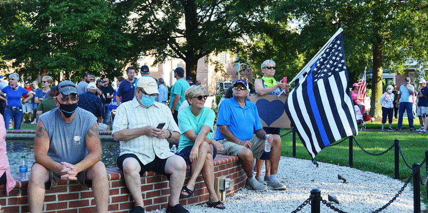 Support for local and state police at a July 2020 rally in Georgetown drew an estimated 500 people to The Circle. A similar event is set for Monday there.
