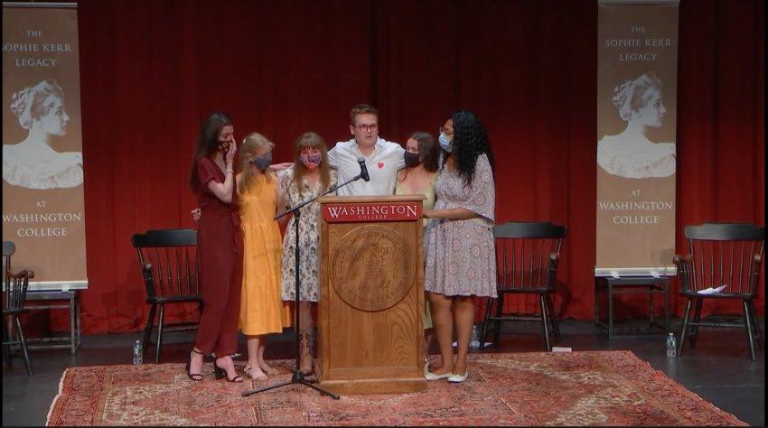 From left to right, MacKenzie Brady, Nicole Hatfield, Rebecca Kanaskie, Justin Nash, Megan Walsh and Tamia Williams.