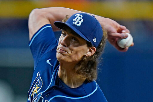 Tampa Bay Rays' Tyler Glasnow pitches to the Washington Nationals during the first inning of a baseball game Tuesday, June 8, 2021, in St. Petersburg, Fla. (AP Photo/Chris O'Meara)