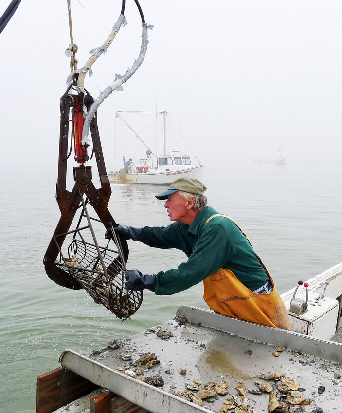 Capt. Stoney Whitelock of Deal Island power-tongs oysters in Tangier Sound.