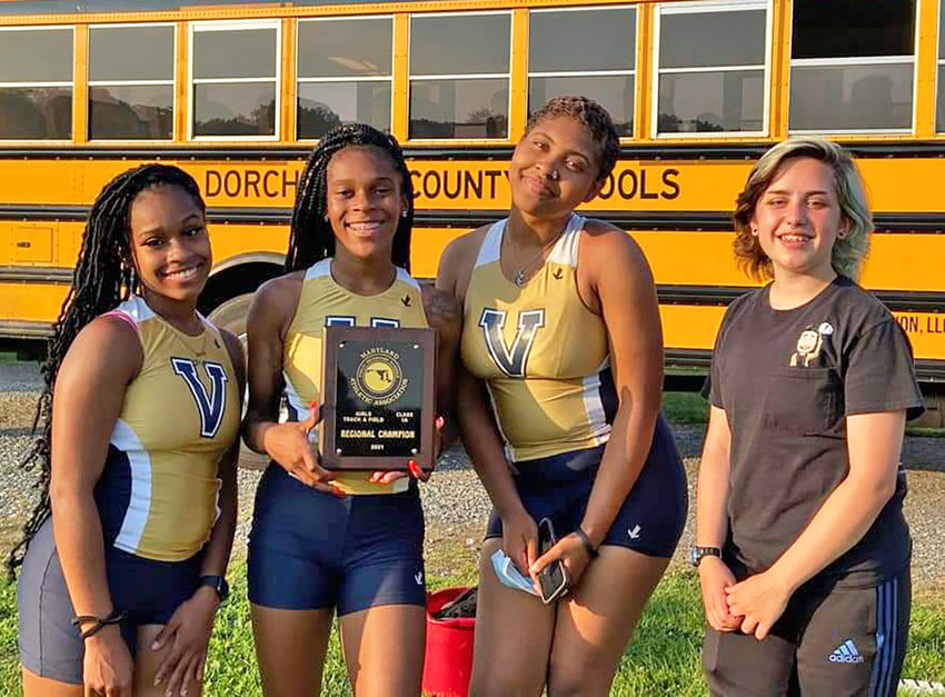 From the left, Sa'Mara Spriggs, Alexus Spriggs, Makayla Dockins and Luci Thomas celebrated their Region 1A East championship on June 14.