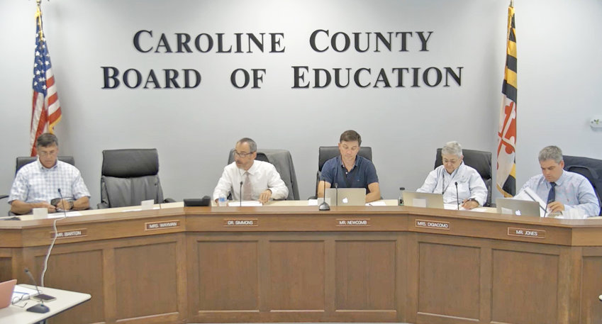 From the left, members of the Caroline County School Board are Richard Barton, Interim Superintendent Dr. Derek L. Simmons, President James A. Newcomb Jr., Vice President Donna L. DiGiacomo, and Mark Jones. Member Arevia Michele Wayman attended by video call. The board decided Aug. 17 to require masks in Caroline County public schools when classes resume.