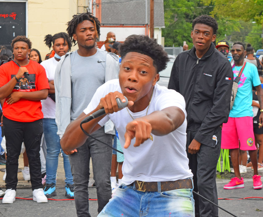 The men of A1 Fazon came from Hurlock to perform. On the mic is Jaden Jones, behind him from the left are Dario and Darren Belizaire.