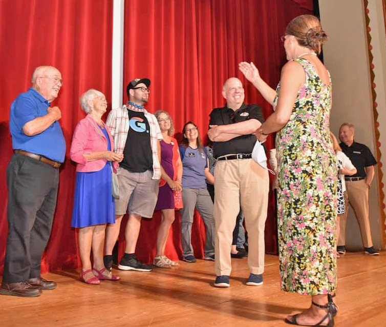 State Senator Addie Eckardt (R-37), second from left, joined Governor Larry Hogan, center, during a tour of downtown Easton on Aug. 19. The group is seen here at the Avalon Theatre.