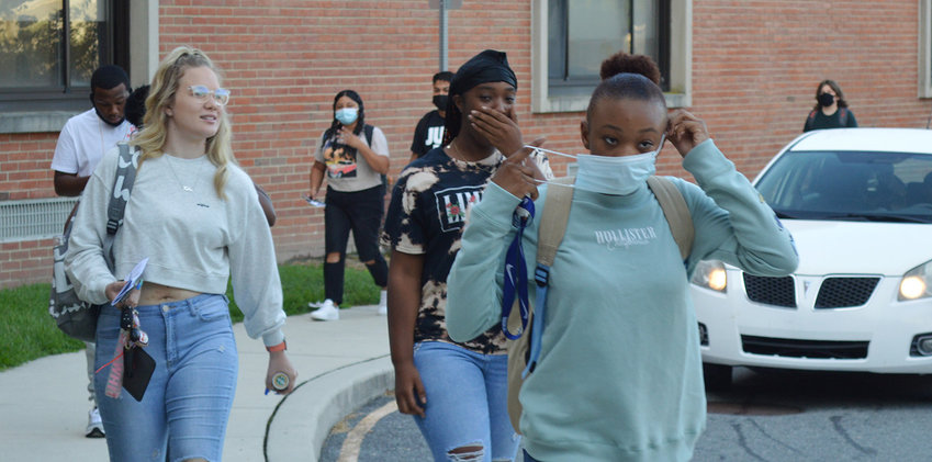 Students arrive at Seaford High School on Tuesday for the first day of the 2021-22 year. All grades in the Seaford School District reported Tuesday to begin a five-day-a-week schedule.