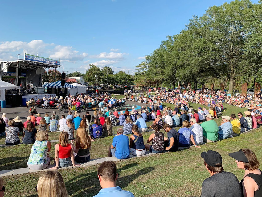 In a 2019 photo, crowds gather around the Riverwalk Amphitheater in Downtown Salisbury. National Folk Festival organizers are preparing to hold an in-person event Sept. 10-12.