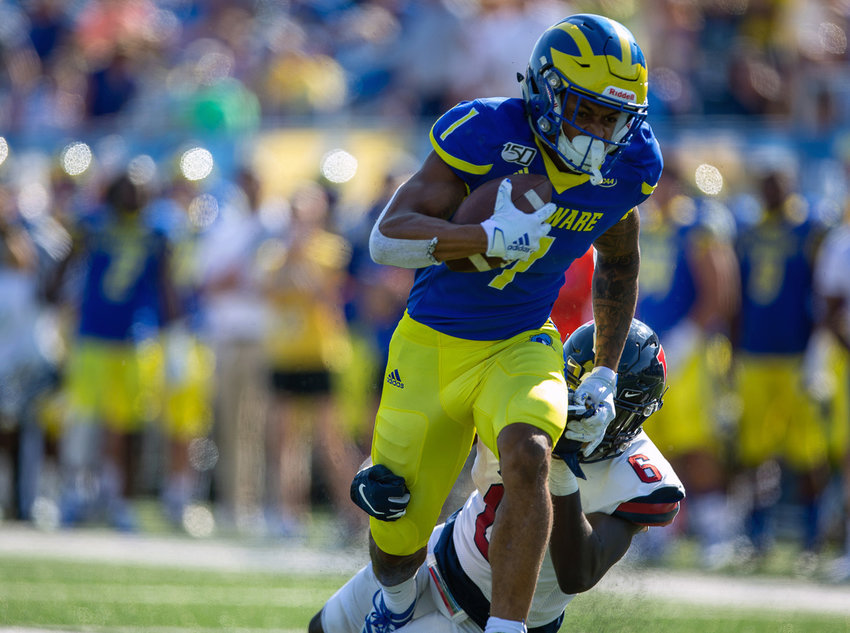 Receiver Thyrick Pitts had a big 66-yard touchdown catch in Delaware's season-opening win at Maine.