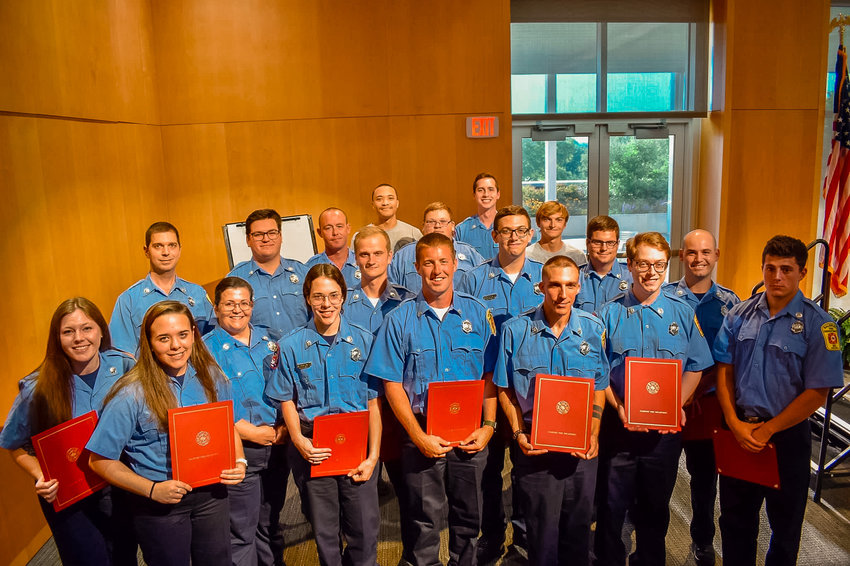 In a ceremony held at Salisbury University, 18 new volunteer firefighters and EMTs were sworn in to serve the Salisbury Fire Department, after having completed Fire 1 or EMT classes..