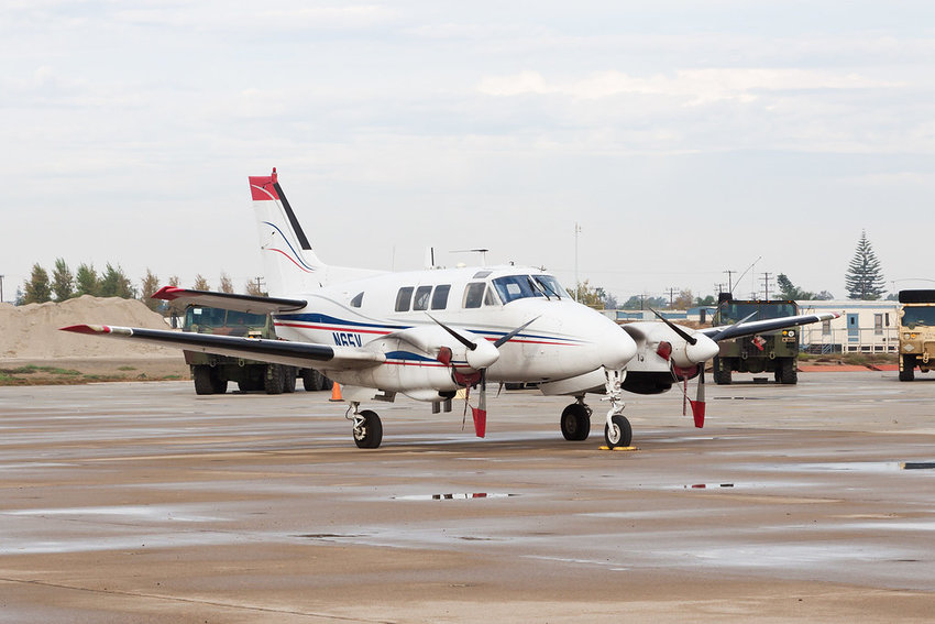 A Beechcraft King Air with a similar paint job as the plane seen here was scheduled to conduct spraying at Cambridge–Dorchester Regional Airport in the evening of Sept. 9.