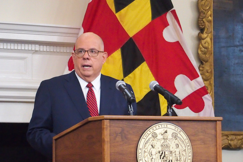 Gov. Larry Hogan announces that Maryland seniors are now eligible to receive COVID-19 vaccine booster shots at a press conference Sept. 8.