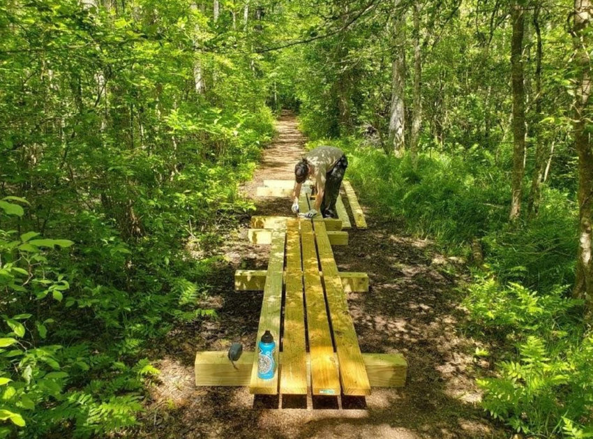 """Work is done on the """"Trail of Change"""" at Pocomoke River State Park in spring 2021 through the Friends of Maryland State Parks grant program."""
