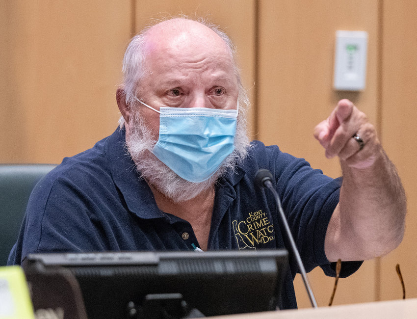 Ricky Maddox with Kent County Crime Watch of Delaware speaks during a meeting at Kent County Levy Court in Dover on Aug. 26. The group recently resumed gathering after a pause during the COVID-19 pandemic.