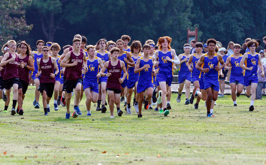Start of the Milford High School vs. Caesar Rodney High School cross country meet at Brecknock Park on Wednesday.
