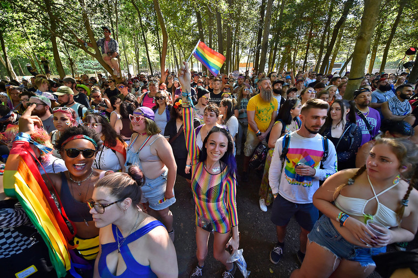 Jaklyn Bush, of Bear, waves the Pride flag among a sea of Pride Parade participants at the Treehouse stage at the Firefly Music Festival Sunday.