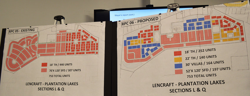 Comparison charts show the unit type and layout of homes in two different plans for Plantation Lakes' South Shore in Millsboro. The map on the right was approved Monday by Millsboro Town Council.